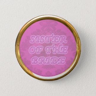 Badge Rond 5 Cm Soeur du bouton de jeune mariée avec le bord d'or