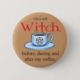 Badge Rond 5 Cm sorcière de café de bouton