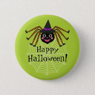 Badge Rond 5 Cm Sorcière Halloween heureux d'araignée
