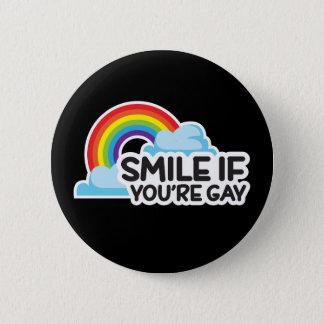 Badge Rond 5 Cm Souriez si vous êtes fierté gaie de l'arc-en-ciel