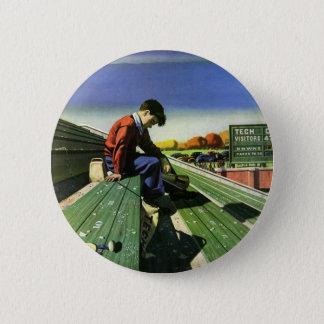 Badge Rond 5 Cm Sports vintages, passioné du football triste avec