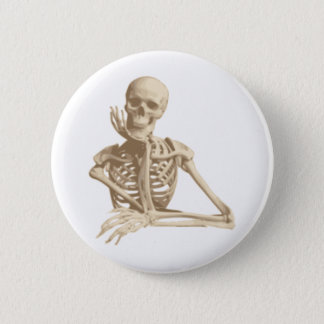Badge Rond 5 Cm Squelette réfléchi