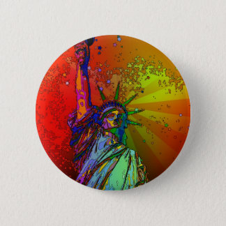 Badge Rond 5 Cm Statue de couleur d'arc-en-ciel de NYC de la
