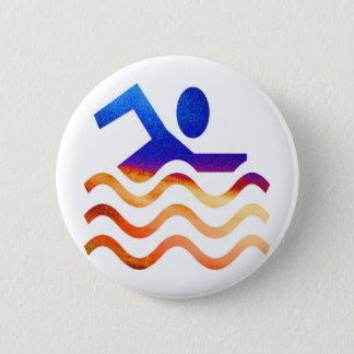 Badge Rond 5 Cm Succès de natation - esprit frais en périodes