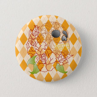 Badge Rond 5 Cm Sucrez le rétro insigne à motifs de losanges jaune