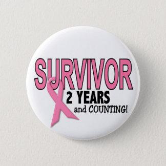 Badge Rond 5 Cm SURVIVANT de CANCER DU SEIN 2 ans et comptes