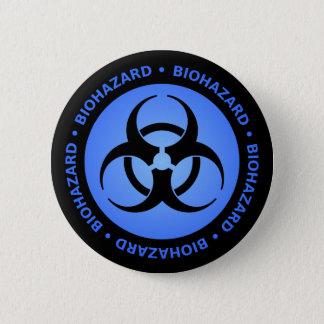 Badge Rond 5 Cm Symbole bleu de Biohazard