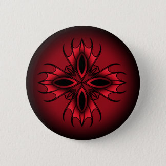 Badge Rond 5 Cm Symbole croisé géométrique médiéval gothique rouge