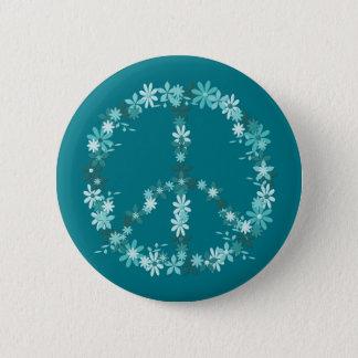Badge Rond 5 Cm Symbole de paix flower power
