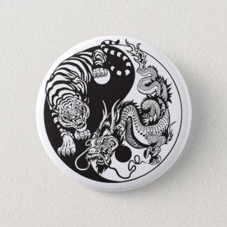 Badge Rond 5 Cm symbole de yang de yin de dragon et de tigre