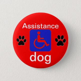 Badge Rond 5 Cm symbole handicapé par chien d'aide avec des pattes