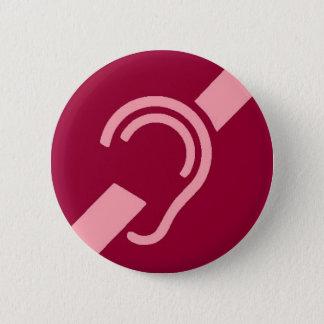Badge Rond 5 Cm Symbole international pour sourd, rose sur le