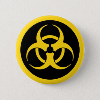 Badge Rond 5 Cm Symbole jaune de Biohazard