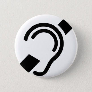 Badge Rond 5 Cm Symbole sourd