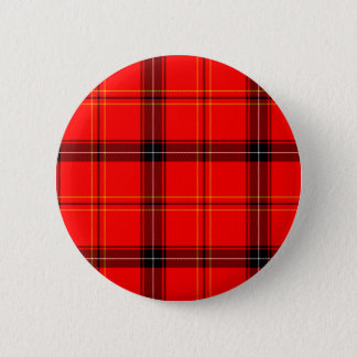 Badge Rond 5 Cm Tartan rouge écossais