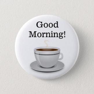 Badge Rond 5 Cm Tasse bonjour de bouton de café