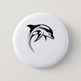 Badge Rond 5 Cm Tatouage tribal noir de bande dessinée de dauphin
