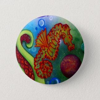 Badge Rond 5 Cm tentacule d'hippocampe et de poulpe