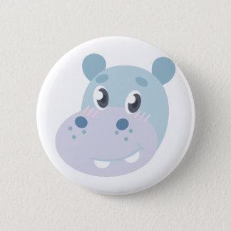 Badge Rond 5 Cm Tête d'hippopotame