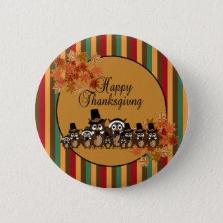 Badge Rond 5 Cm Thanksgiving de famille de pèlerin de hibou