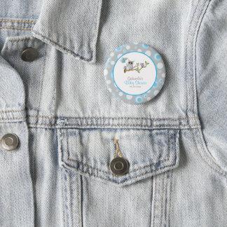 Badge Rond 5 Cm Thème bleu et gris de baby shower de hibou de bébé