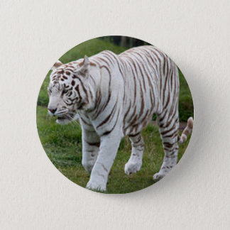 Badge Rond 5 Cm Tigre blanc
