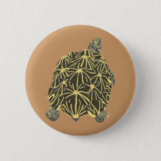Badge Rond 5 Cm Tortue noire et jaune d'étoile, bouton ON de