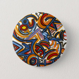 Badge Rond 5 Cm Trois peints à la main colorés d'art