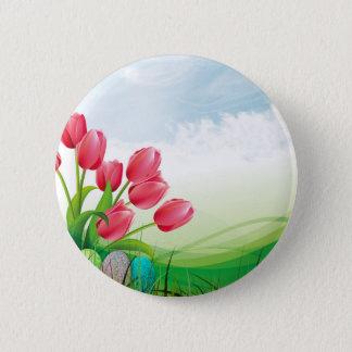 Badge Rond 5 Cm Tulipes de ressort et oeufs de pâques