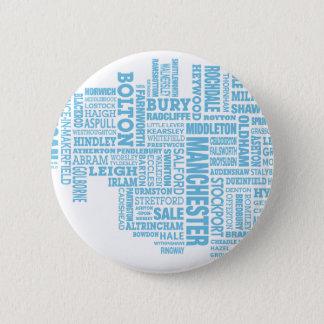 Badge Rond 5 Cm Type bleu carte de plus grand Manchester