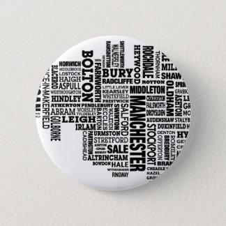 Badge Rond 5 Cm Type noir carte de plus grand Manchester