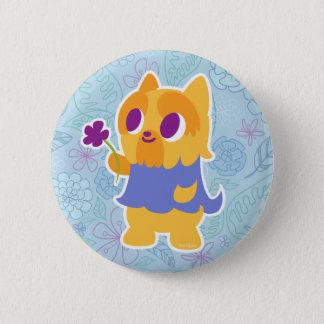 """Badge Rond 5 Cm """"Une fleur pour vous"""" Kawaii aux cheveux courts"""