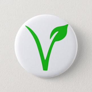 Badge Rond 5 Cm V est pour le végétalien