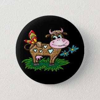 Badge Rond 5 Cm Vache et papillon à guépard