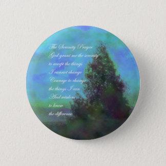 Badge Rond 5 Cm Vert bleu de prière de sérénité
