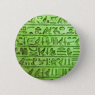 Badge Rond 5 Cm Vert égyptien antique d'hiéroglyphes