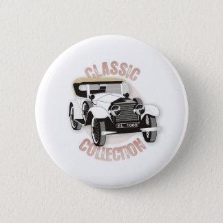 Badge Rond 5 Cm Vieille voiture vintage blanche avec le toit