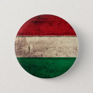 Badge Rond 5 Cm Vieux drapeau en bois de la Hongrie