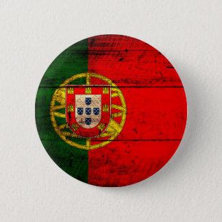 Badge Rond 5 Cm Vieux drapeau en bois du Portugal