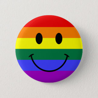 Badge Rond 5 Cm Visage de smiley d'arc-en-ciel