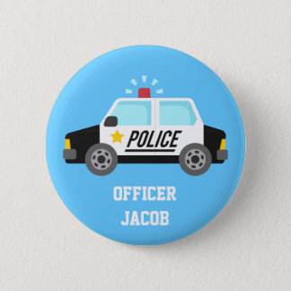 Badge Rond 5 Cm Voiture de police classique avec le bouton