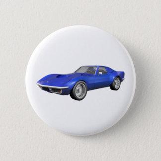 Badge Rond 5 Cm Voiture de sport 1970 de Corvette : Finition bleue