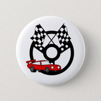 Badge Rond 5 Cm Voiture et drapeaux de course rouges