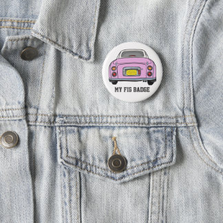 Badge Rond 5 Cm Voiture rose de Nissan Figaro