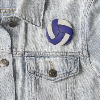 Badge Rond 5 Cm Volleyball blanc et bleu-foncé