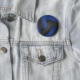 Badge Rond 5 Cm Volleyball noir et bleu-foncé