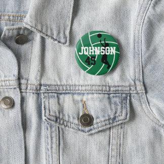 Badge Rond 5 Cm Volleyball vert-foncé avec le joueur de silhouette