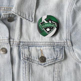 Badge Rond 5 Cm Volleyball vert-foncé et noir et blanc