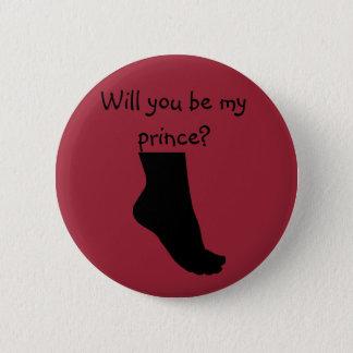 Badge Rond 5 Cm vous serez mon bouton rouge de prince