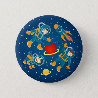 Badge Rond 5 Cm Voyage dans l'espace d'amour d'astronautes